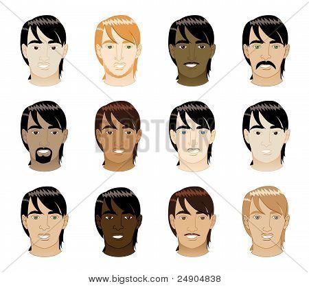 Straight Hair Men Faces