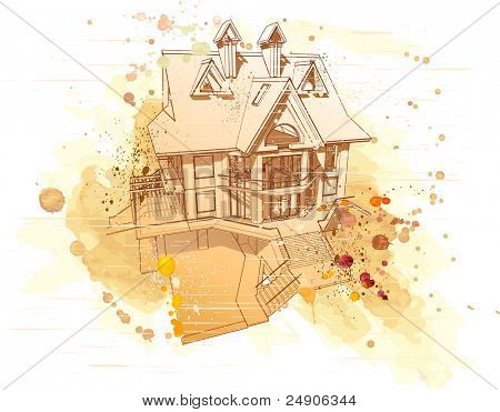 House: vector watercolor draw. Bitmap copy my vector id 16574521