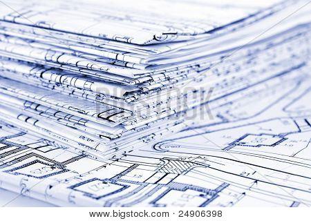 Blueprints - uma pilha de desenhos arquitetônicos profissionais