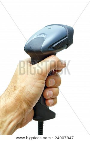 Scanner Barcode In Man's Hand