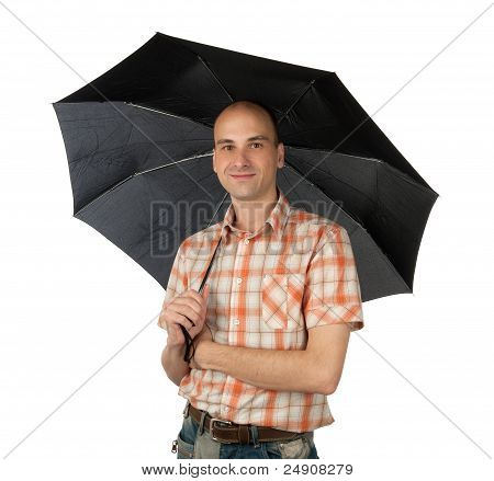 Handsome Young Man Under An Umbrella
