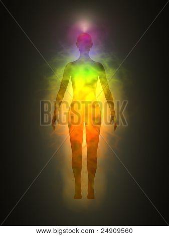 Human energy body, aura, chakras, energy, silhouette