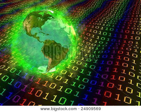 Planet Earth and digital data - America