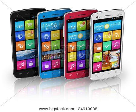 Conjunto de cor touchscreen smartphones