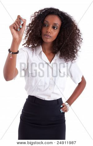 African American Business Woman  Writing Something On Glass Boar