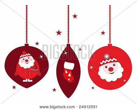 Christmas Retro Decoration Set With Santa, Isolated On White background