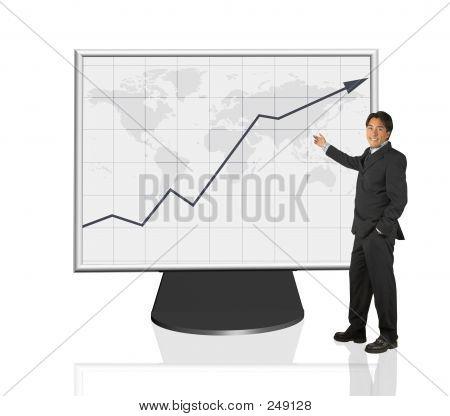 Kaufmann präsentiert Wachstum Diagramm