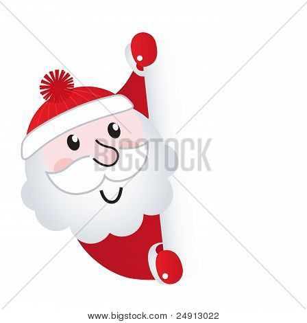 Santa Claus Holding Blank Banner Sign, Isolated On White..
