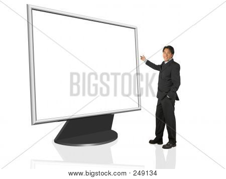 Businessman Presenting On A Tft Screen