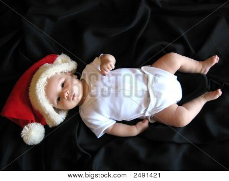 Santa Baby With Black Background