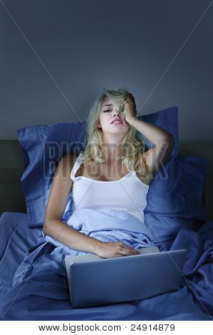 Upset Woman With Laptop Computer In Bed