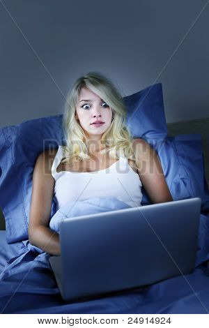 Frightened Woman With Computer At Night
