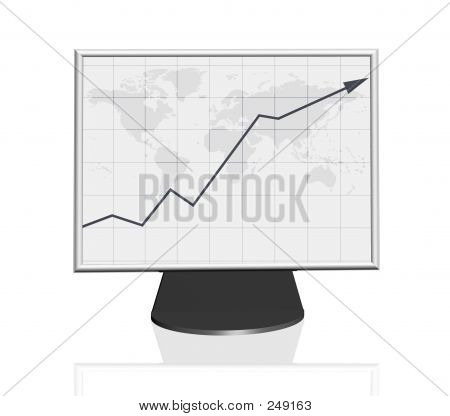 Growth Business Graph On Computer Monitor