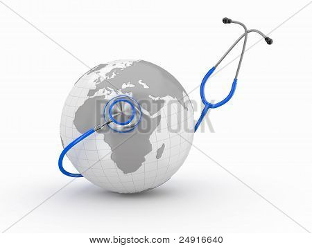 Earth And Stethoscope. 3D