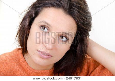 Portrait Of A Dreamy Brunette
