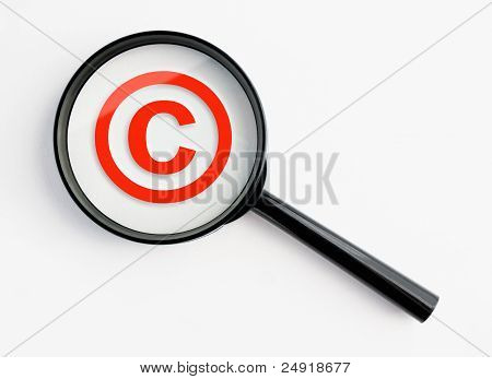 Magnifying Glass With Copyright Symbol