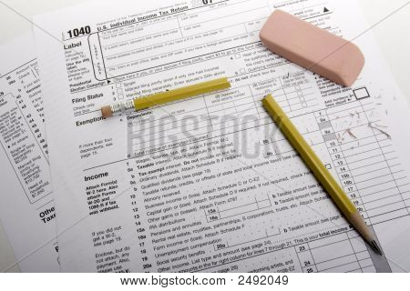 Tax Form With Broken Pencil