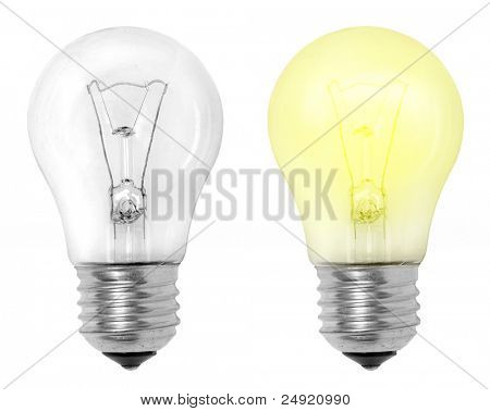 Light bulbs on a white background. Great for animated icons to web design.