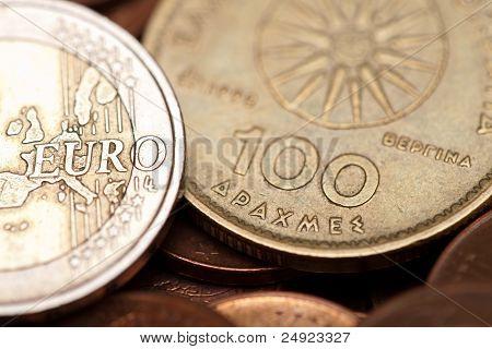 Greek Drachmas And Euro Coins  (macro Shot)
