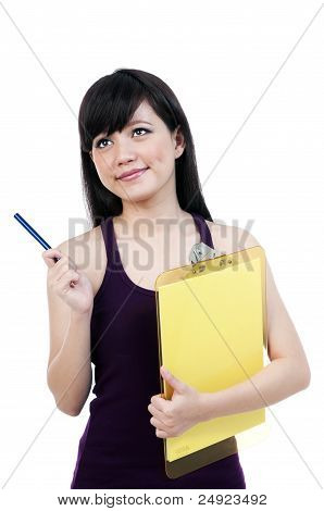 Young Asian Female Holding Clipboard And Pen