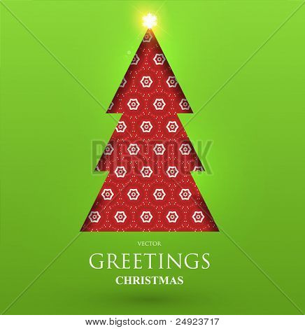 Creative Christmas tree formed from paper. Xmas postcard with seamless ornament. Vector Illustration.
