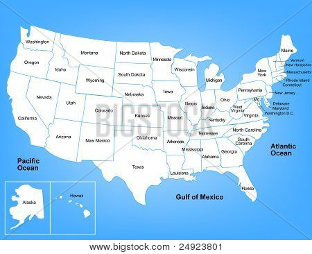 Vector map of the United States