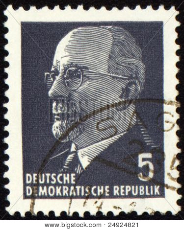 Walter Ulbricht Portrait On Postage Stamp