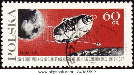 "Post Stamp With Russian Automatic Spaceship ""luna-10"""