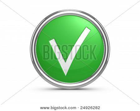 Green Check Mark Sign. 3D Illustration