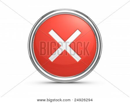 Red Cancel Sign. 3D Illustration