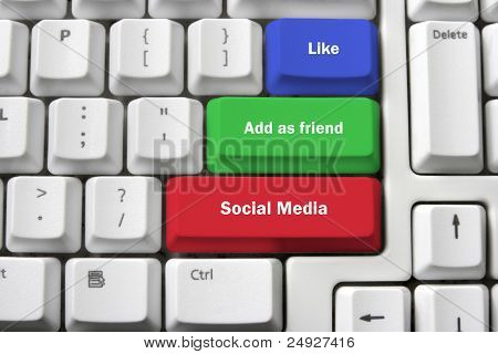 Computer Keyboard with Social Media Concept