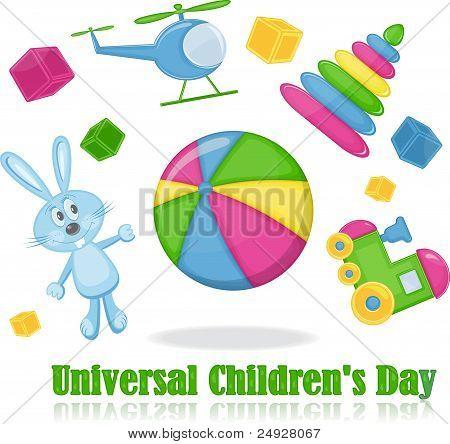 Different toys around the ball, universal children's day