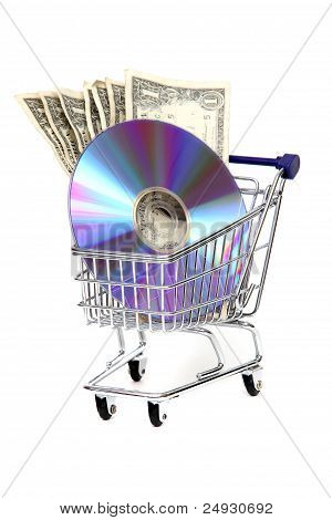 Shoppingcart With Dollars And Dvd