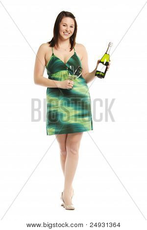 Cheerful Pretty Female With Champagne Bottle Celebrating