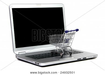 Laptop And Shoppingcart