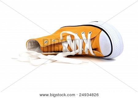 Yellow Sneaker With White Latchet On White
