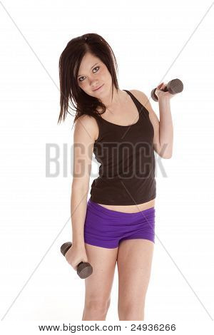 Woman Purple Shorts Weights