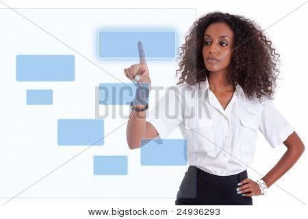 African Business Woman Pushing  A Transparent Screen