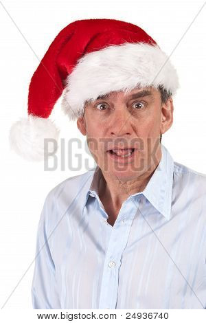 Shocked Surprised Man in Christmas Santa Hat