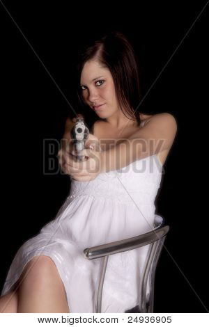 Woman White Dress Pointing Gun
