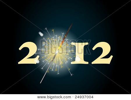 2012 banner with the zero being depicted by a glowing sparkler. Also available in vector format.