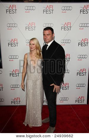 "LOS ANGELES - NOV 3:  Naomi Watts, Liev Schreiber arrives at the AFI FEST 2011 Presented By Audi - ""J. Edgar"" Opening Night Gala at Grauman's Chinese Theater on November 3, 2011 in Los Angeles, CA"