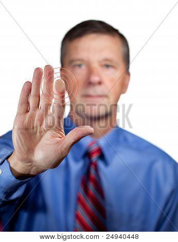 Male Executive Touches Sensor