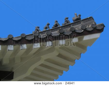 Chinese Roof And Clear Blue Sky