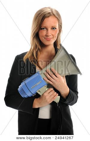 Port trait of beautiful businesswoman holding megaphone isolated over white background