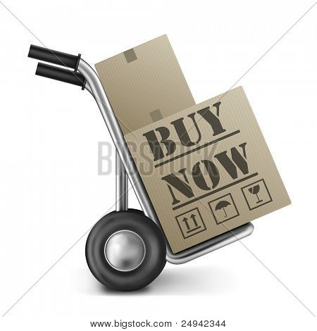 buy now cardboard box on cart online shopping icon for internet web shop