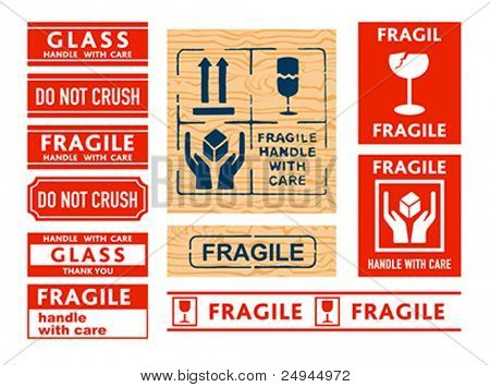 Shipping Handle with care, Fragile and Glass stickers and stamps