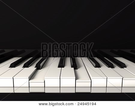 Black piano.Front view