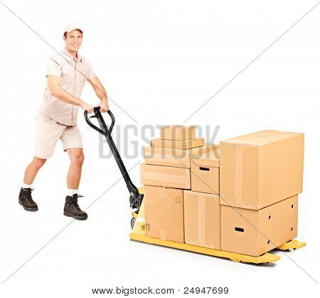 Full length portrait of a worker pushing a fork pallet truck isolated on white background