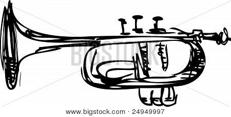 sketch of copper Cornet Musical Instrument